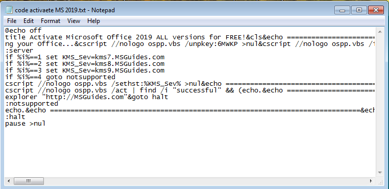 code to activate microsoft office 2019